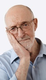 elderly man with jaw pain